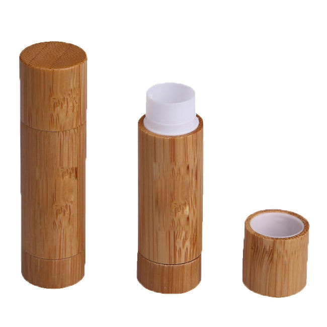 5g Wholesale eco friendly empty bamboo lip balm tube lipstick tube for cosmetic lipbalm tube