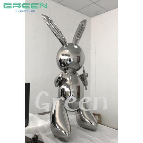 Balão coelho coelho estátua escultura 304 aço inoxidável polido modelo gabinete decoração sala de estar