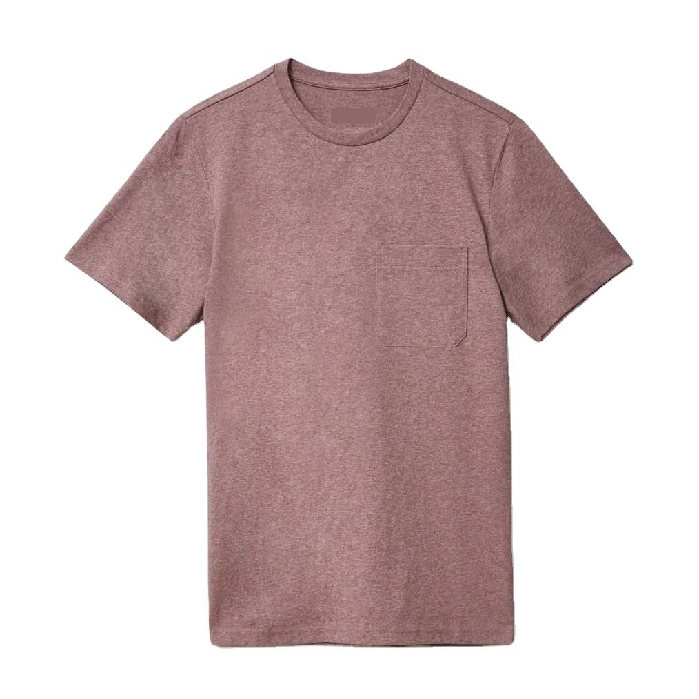 2021 Printed Logo Men Custom 100% Cotton Jersey Dyed T Shirt Men Short Sleeve Pocket Tshirt Casual Plain T-shirt Bangladesh