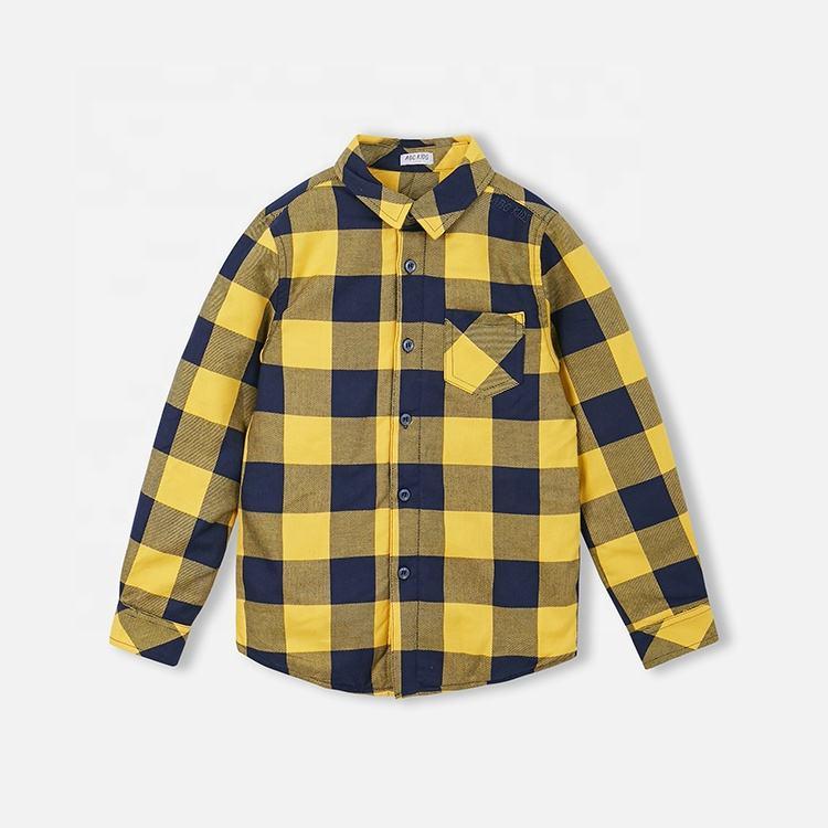 с длинными рукавами для мальчиков, детская повседневная хлопковая рубашка в клетку с карманом