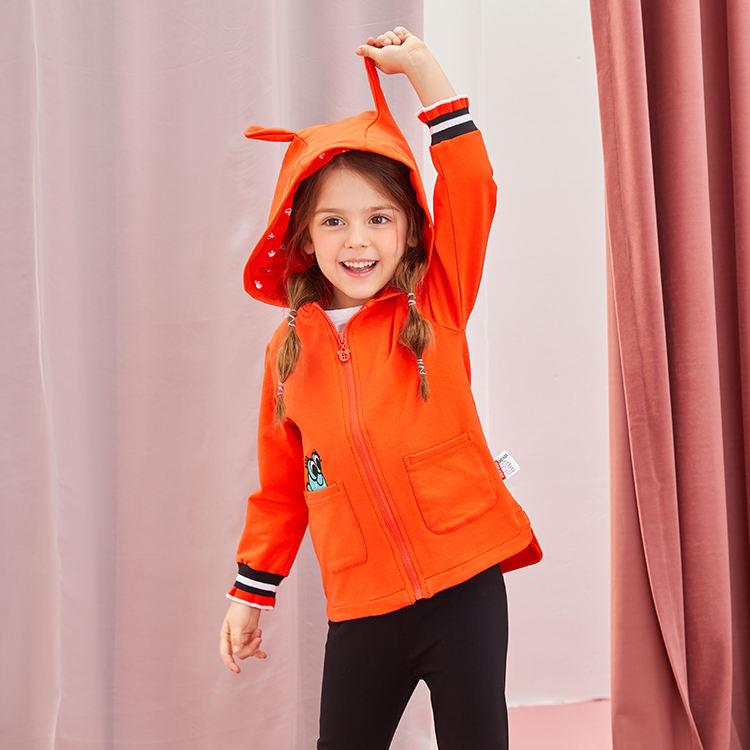 Поставка от производителя-Весенняя серия хлопковый открытый для детей на молнии, толстовки с капюшоном для девочек