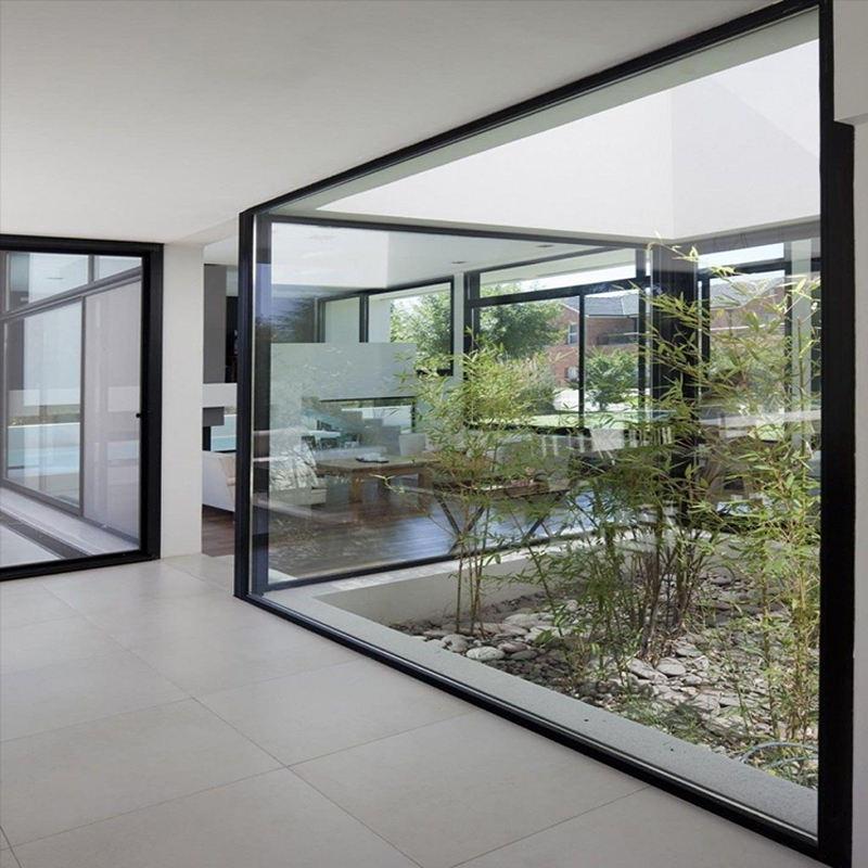 Insonorizzate di grandi dimensioni doppio satinato nero fisso angolo di alluminio finestra