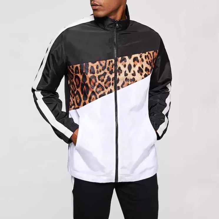 2019 новый дизайн хип-хоп уличный стиль цветной блок леопардовый куртка на молнии мужская парусиновая Safric куртка