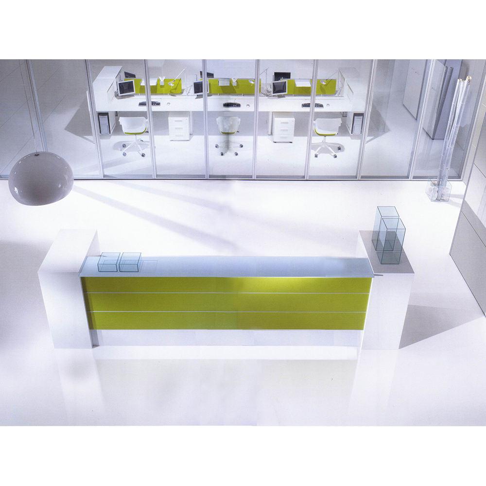 fábrica de china diseño moderno productos personalizados de vestíbulo Oficina recepción avanzada mostrador material verde