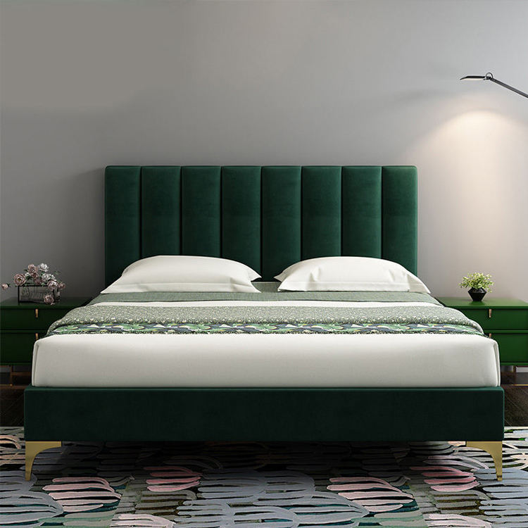 OEM Factory green and gold bed velvet fabric modern queen size bed frame for bedroom furniture solid wooden thicken bed slat