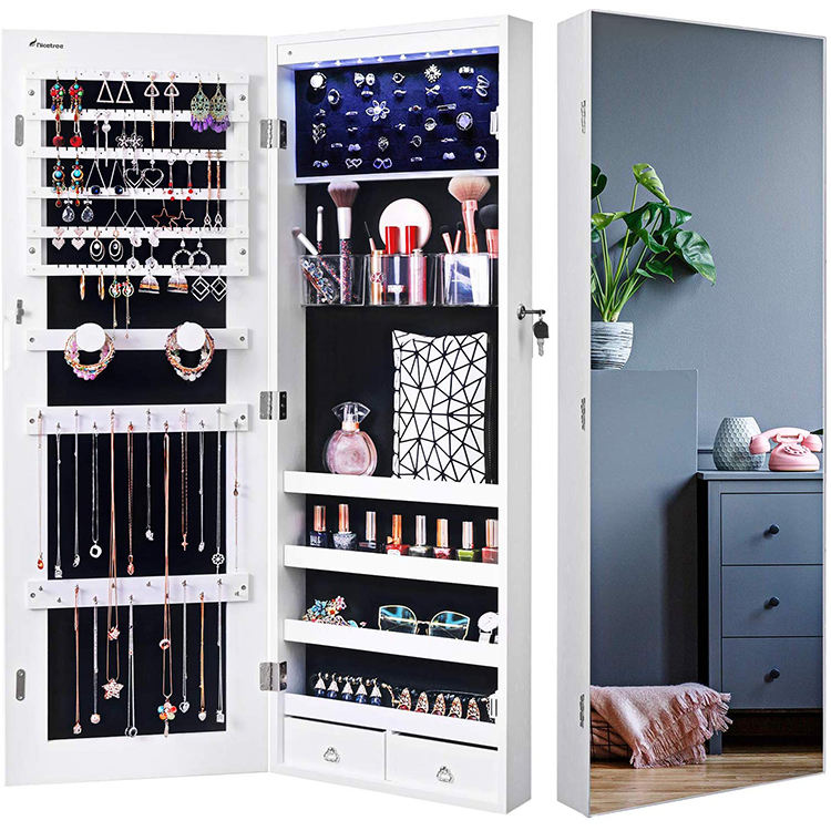 Make Display Storage Organizer Gift <span class=keywords><strong>Armoire</strong></span> Jewelry Cabinets With Mirror