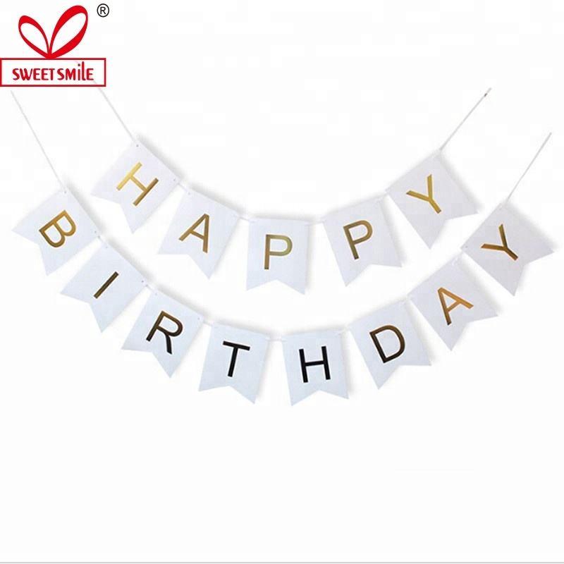 Venta al por mayor papel empavesado banderas brillo carta Feliz cumpleaños colgante banner