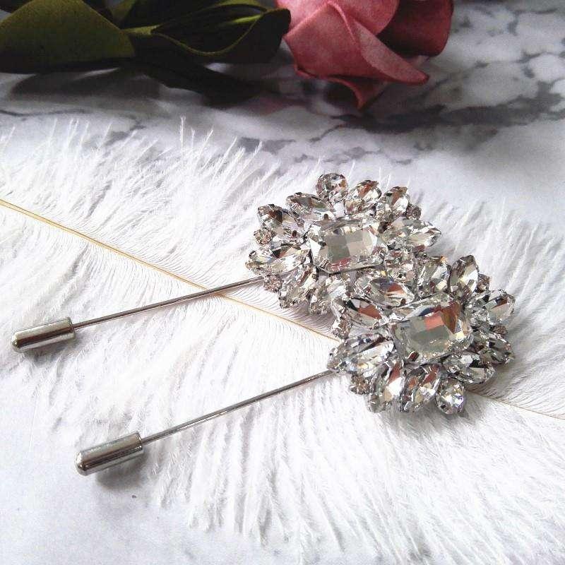 Оптовая продажа большой цветок броши стекло кристалл покрытием металла Брошь шпильки для дам