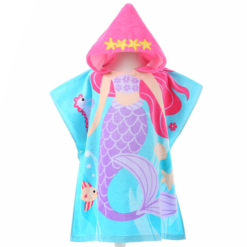 100% cotton printed Poncho Towel child Surf beach Hooded Poncho Towels for Kids