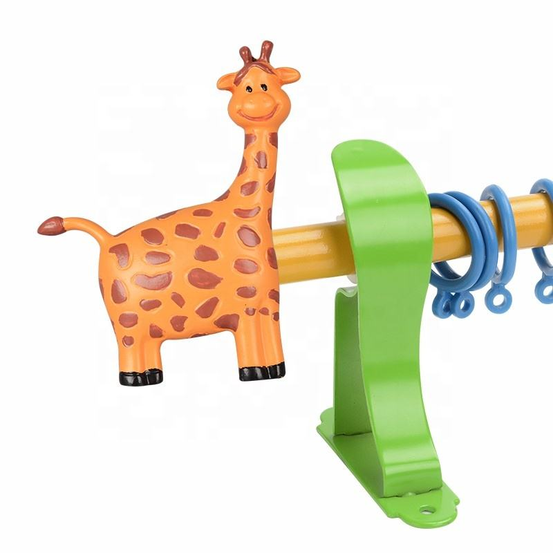 Animal Cute Resin Decorative Kids Curtain Rods Curtain Poles Factory Made Curtain Finial Iron with Brackets Parts and Kids