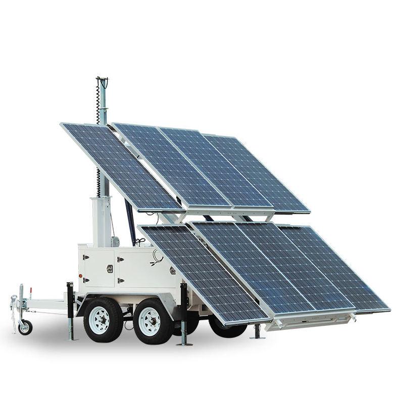 鉱山建設のための移動式トレーラー発電機の多価マスト油圧太陽光発電システムステーション
