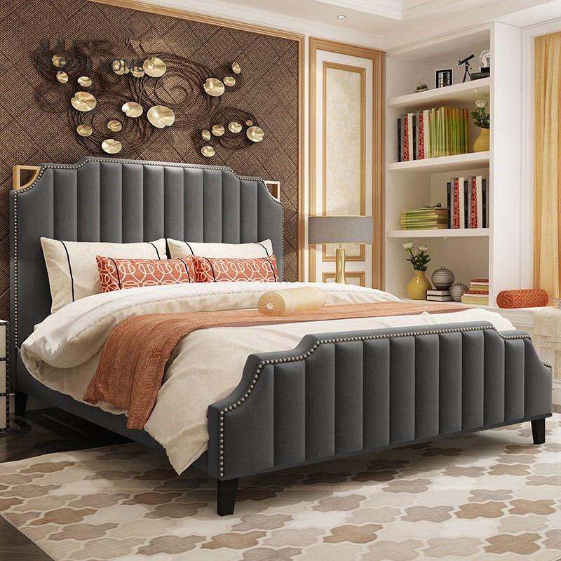 Moderne haute base décorer king size meubles de <span class=keywords><strong>lit</strong></span> double avec rangement