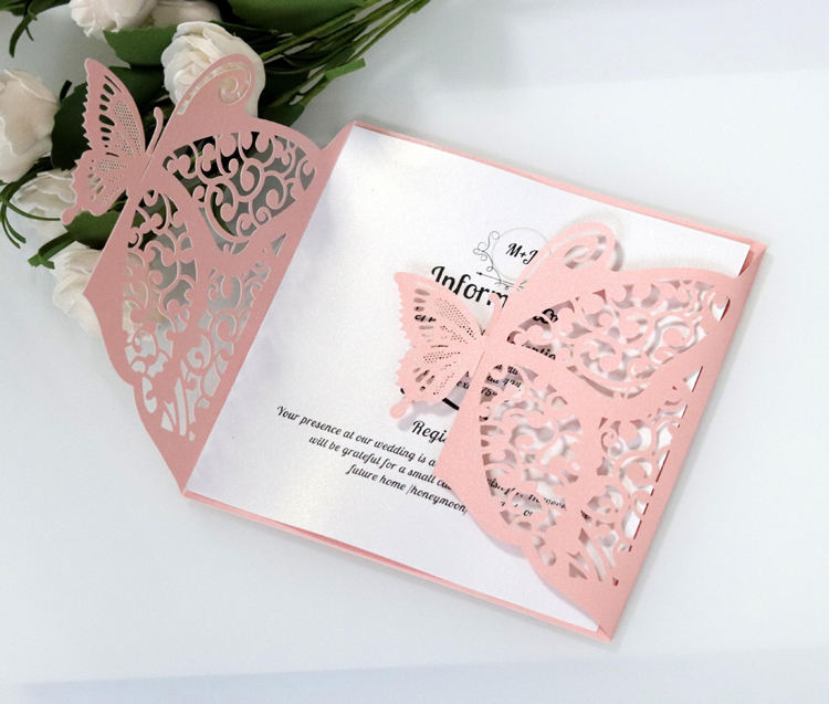 Personalized Gold Blue Silver Glitter Paper Laser Cut Wedding Invitation Card With Ribbon