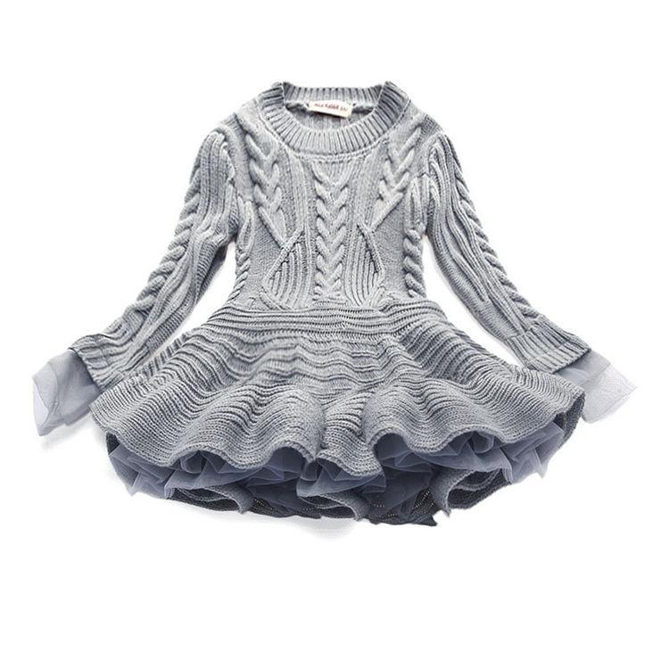 2018 зимний Красивый вязаный кардиган с помпоном для девочек; детское платье-джемпер для маленьких девочек; Детский свитер