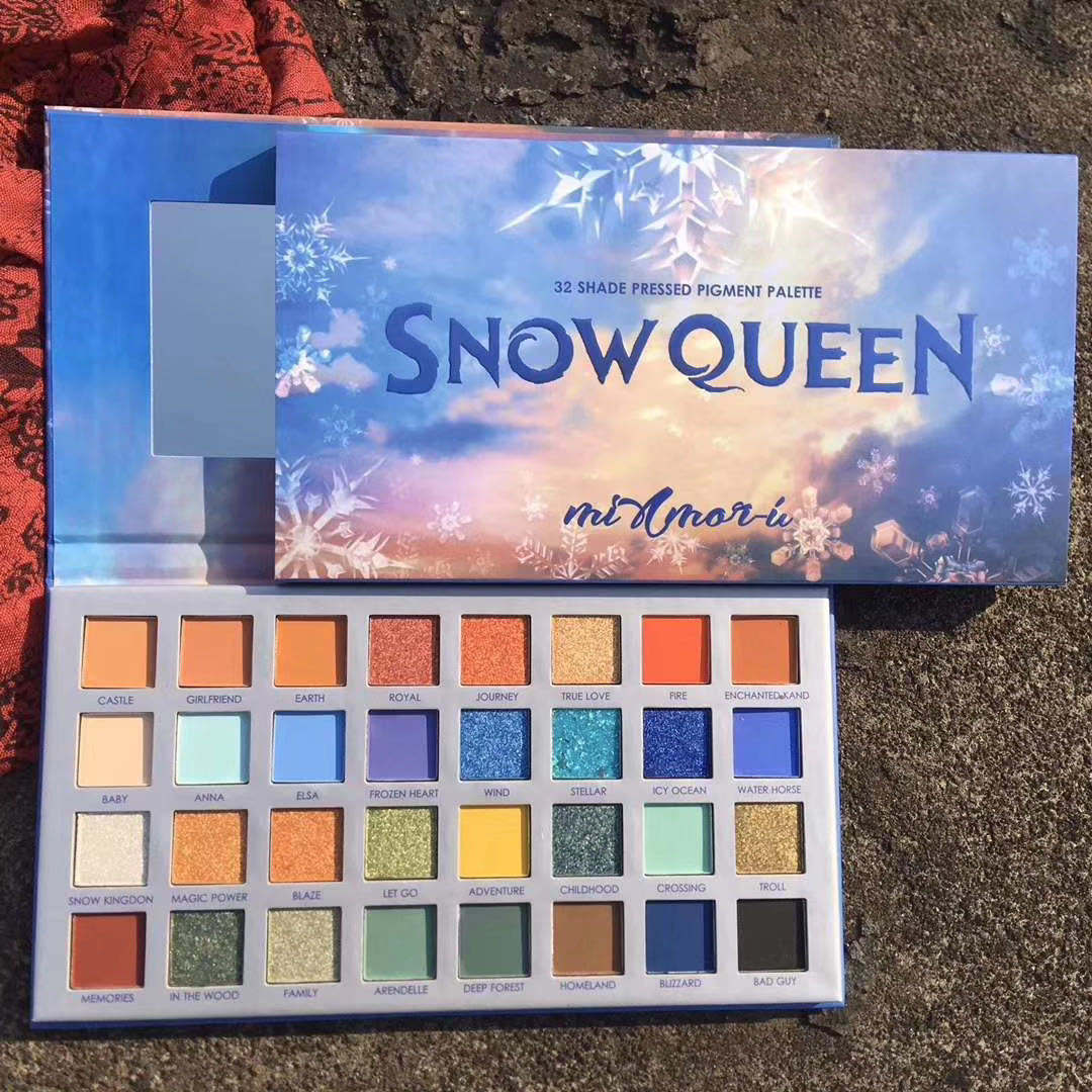 32 Colors Private Label Snow Queen Eye shadow Palette Shimmer Triangle Design Unlabeled Custom Glitter Cheap Eyeshadow Palette