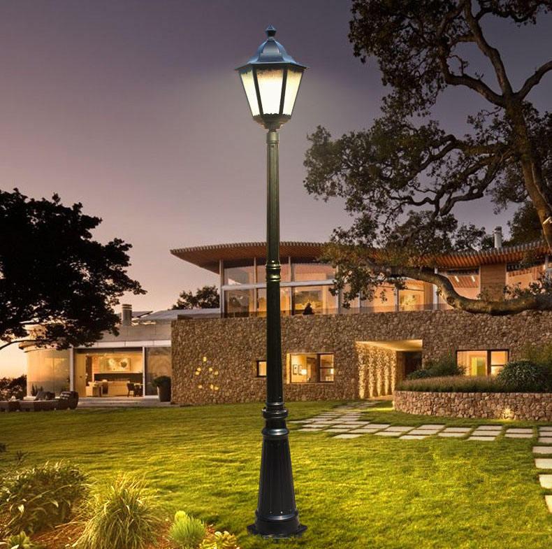 decoración al aire libre clásico antiguo jardín vintage lámpara de luz de calle acanalado Polo de hierro fundido de aluminio