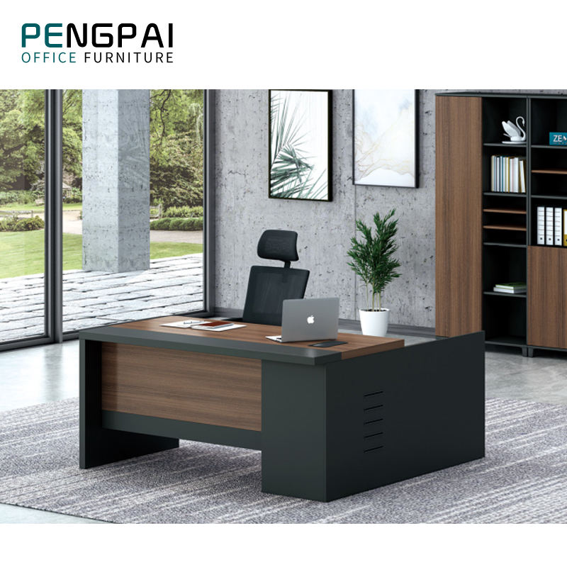 China high quality office furniture elegant melamine l shaped boss office table