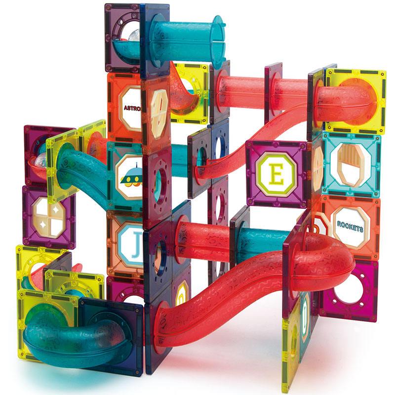Blocos de construção de azulejos magnéticos, brinquedos magnéticos para crianças, escola, com 125 peças
