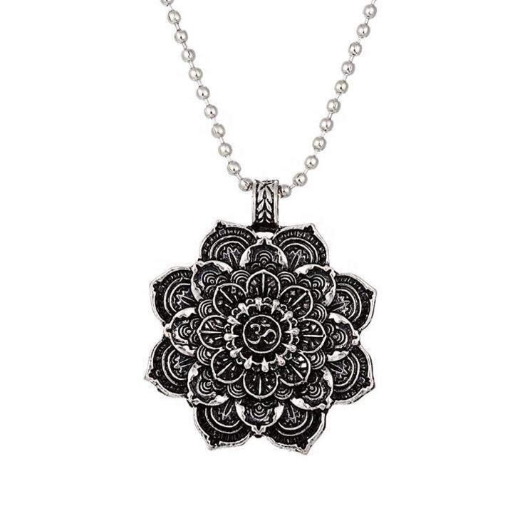 2019 caliente Mandala colgante de moda joyería minimalista, collar de flor para Hiphop