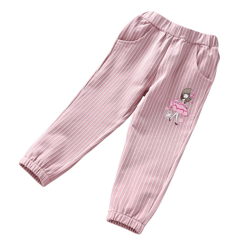 Новинка 2020, детские брюки в полоску для девочек, тонкие осенние хлопковые повседневные брюки для девочек