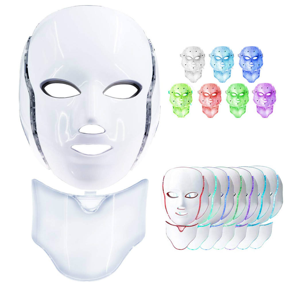 7 Colors Led Face Shield,Led Photon Red Blue Green Therapy For Anti Aging Spot Removal Wrinkles Whitening Facial Skin Care //