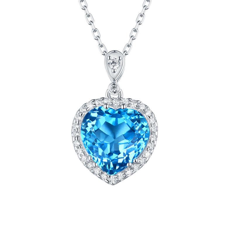 Gemstone Blue topaz pingente de prata do coração da colar do oceano S925