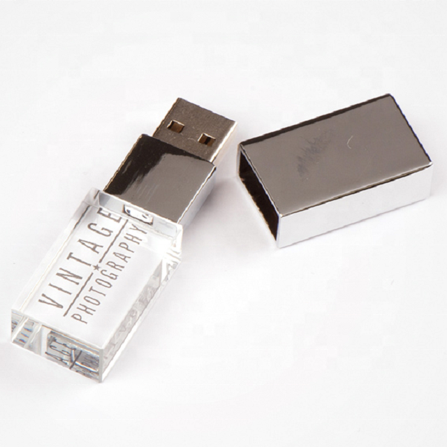 Best Selling high speed USB2.0/3.0 custom shape USB flash drives promotional LED crystal USB flash drive for business gift