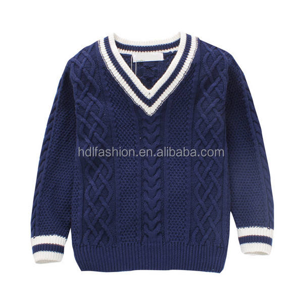Kids knitted V neck pullover navy and white cable knit sweater
