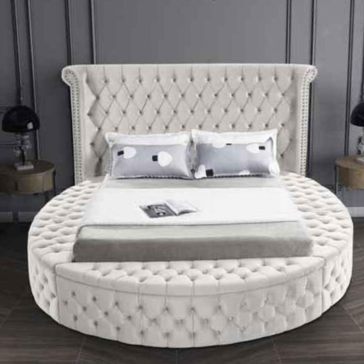 European Style Modern Upholstery White Faux Leather Velvet Storage Beds with Speaker bedding wholesale