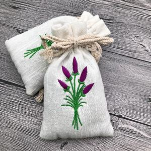 Large Lavender Embroidered Toilette Traveling Bag For Your Historical Needs Muslin Embroidered Bag Lavender Embroidery
