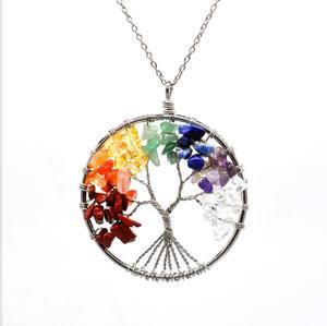 XUNBEI — collier pendentif des 7 chakras en Quartz, bijoux en pierre  naturelle, pendentif d'arbre de vie