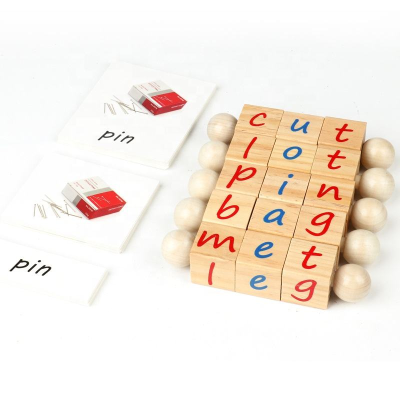 XOẮN Khối Bằng Gỗ Quay Thẻ Bảng Chữ Cái Lôi Cuốn Giáo Dục Ngữ Âm Rhyming Đọc Sách Montessori Thư