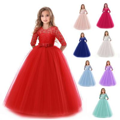Красивое кружевное платье принцессы; Детские платья с цветочной вышивкой для девочек