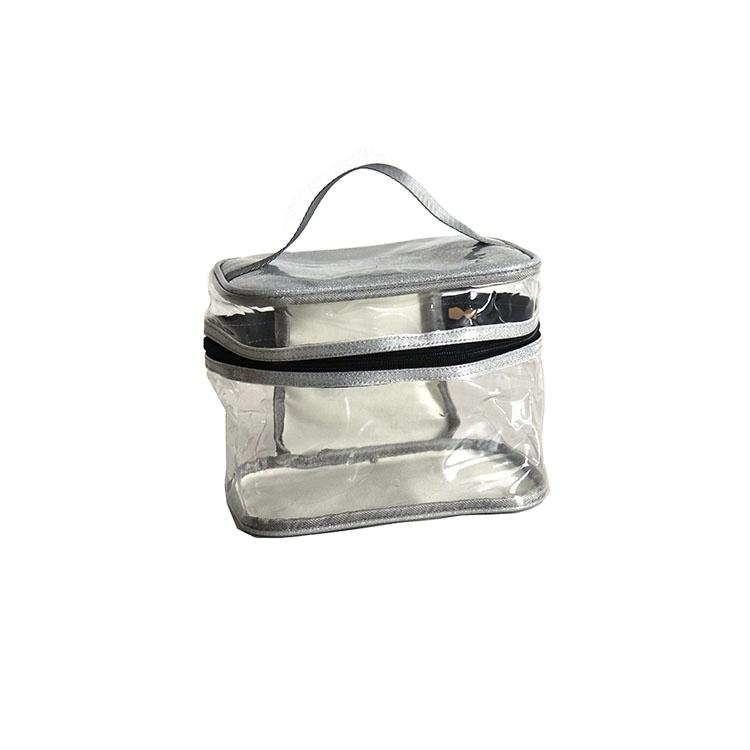 Promotional Item Handled Clear PVC Transparent Cosmetic Bag With Zipper