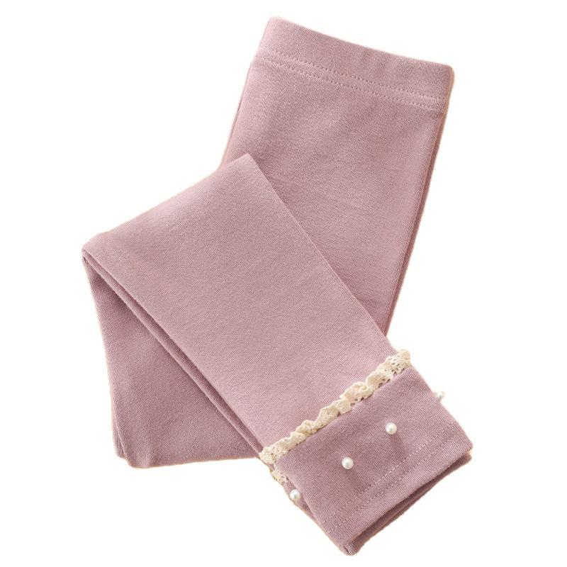 Осенние новые детские брюки в Корейском стиле хлопковые детские леггинсы с украшением из жемчуга для девочек