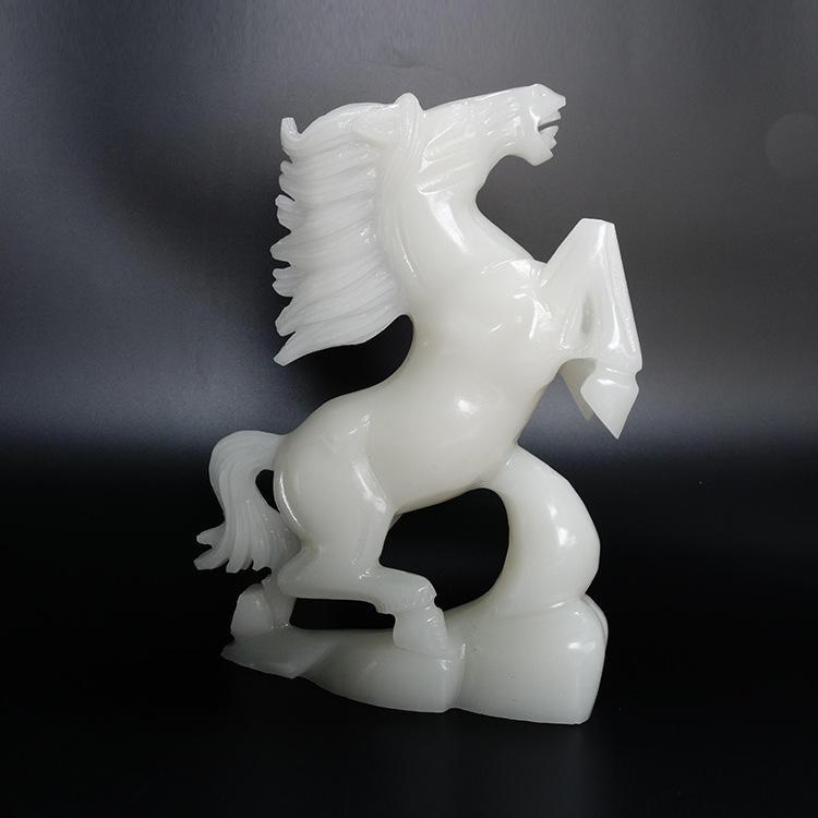 Gemstone Semiprecious Fluorite Horse Decorative sculpture Figurine