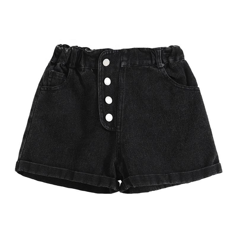 Детские джинсы с эластичной резинкой на талии для девочек; Популярные шорты; Черные джинсовые короткие штаны