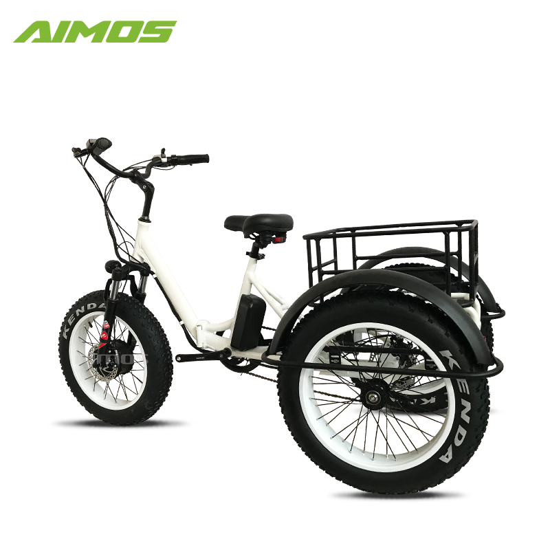 EN15194 E trike 3 wheels e 36v 250W Electric folding bicycle with Rear Basket Electric foldable trike