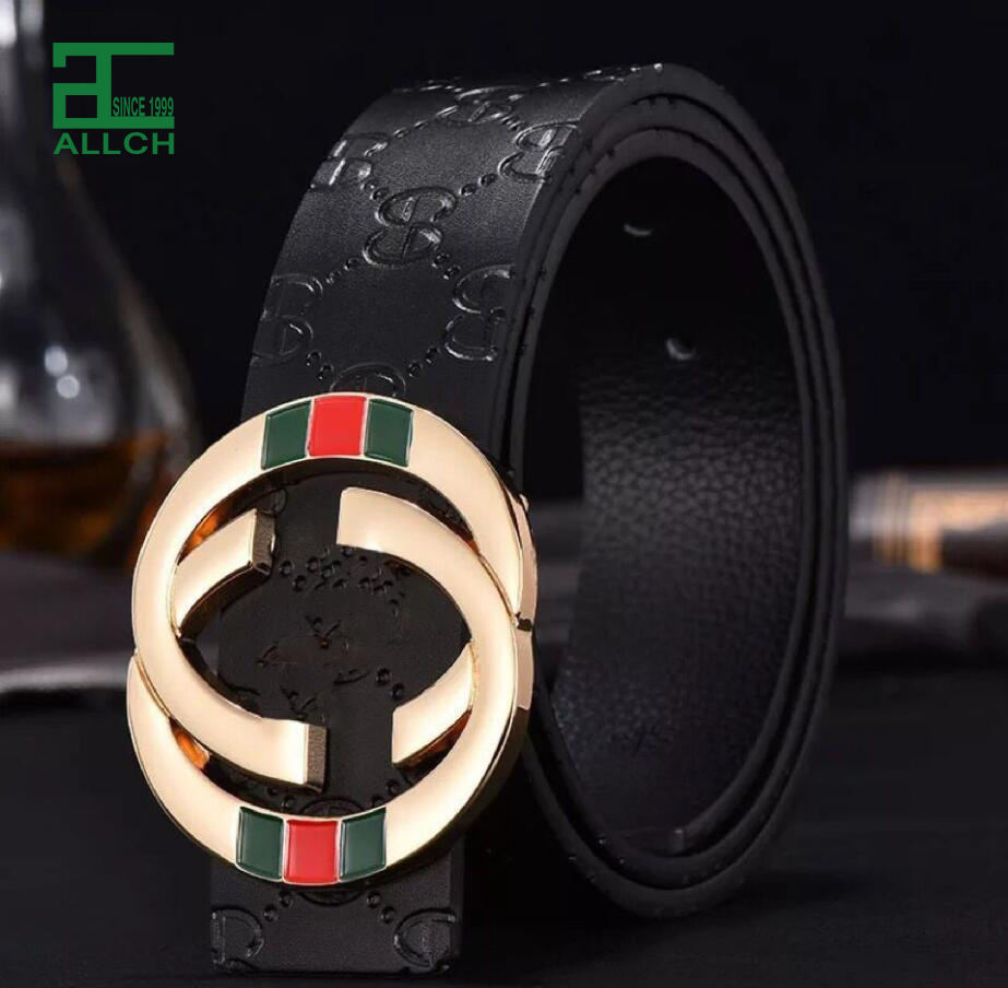 ALLCH RTS Mens' Luxury Designer Famous Brand CC Genuine Real Leather Belt