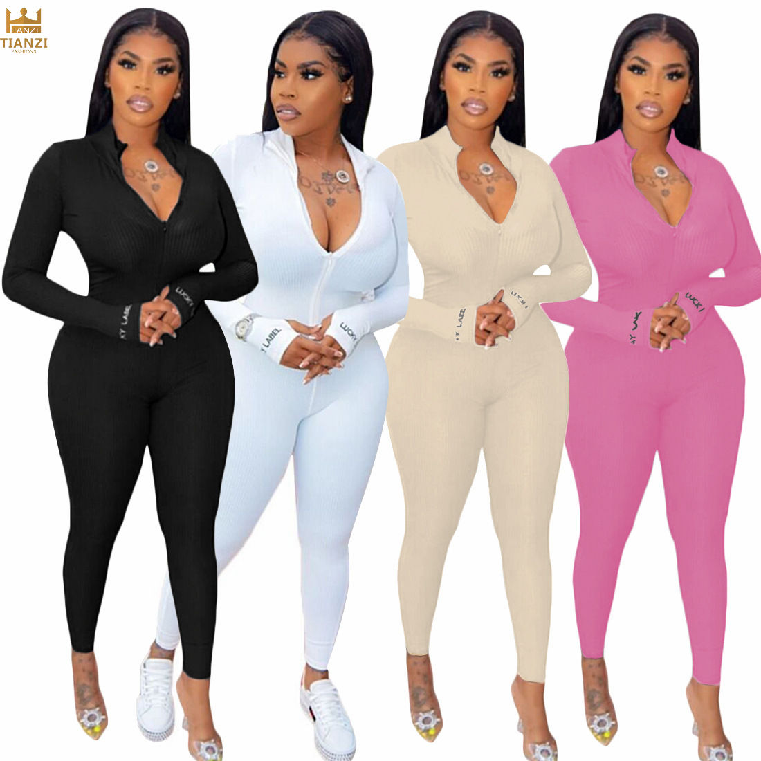 Y3348 <span class=keywords><strong>Jumpsuit</strong></span> <span class=keywords><strong>Wanita</strong></span> Lengan Panjang, <span class=keywords><strong>Jumpsuit</strong></span> Bodycon Ritsleting Solid Modis