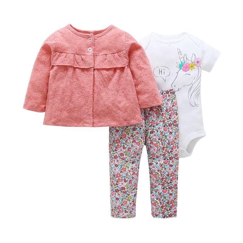 Oeko tex roupas de bebê recém-nascido, conjunto de roupas de bebê menina