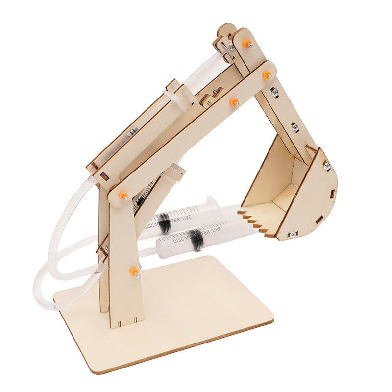 3D Wooden Construction Excavator Vehicle Toys Set STEM Science Kit with Air Pressure System to Build A Wood Excavator Model Grip