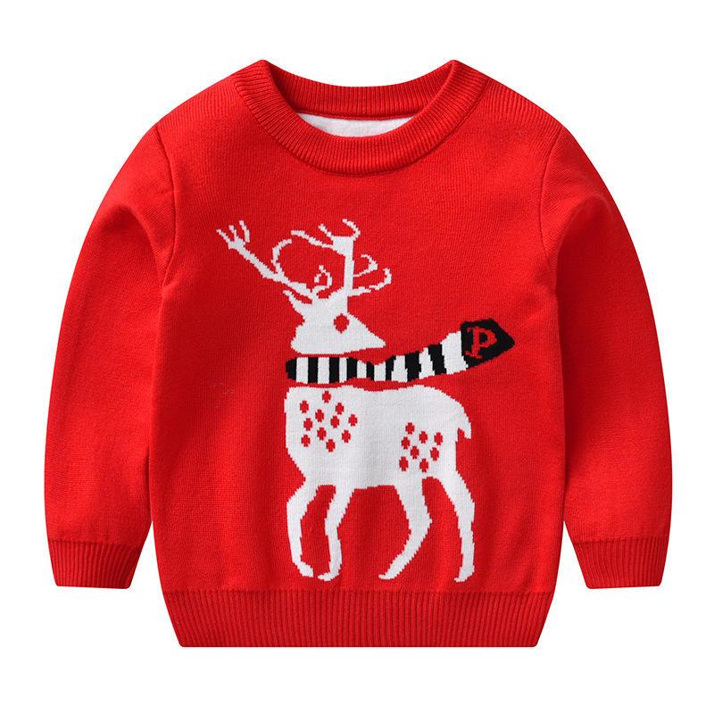 Рождественский жаккардовый детский стильный Рождественский вязаный пуловер для маленьких мальчиков, свитер, 2020