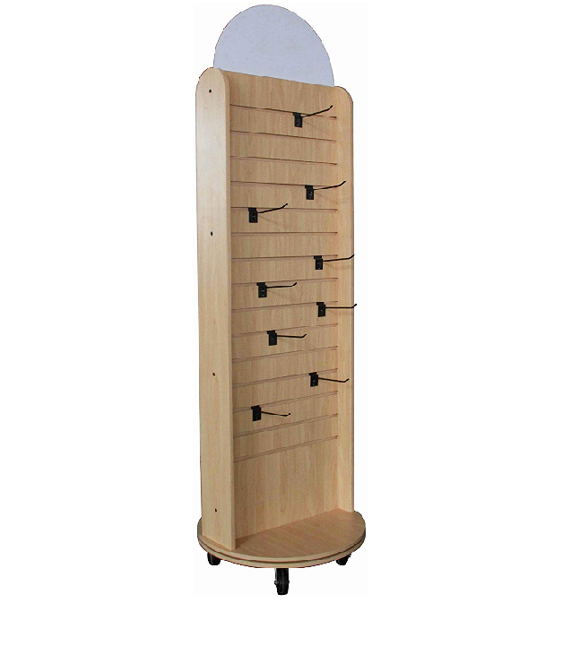 F-orchid Double Sided Slatwall Rotating Display Wood Floor Standing Rack