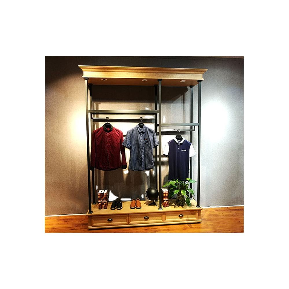 Clothing display rack floor style clothing and iron art clothing shelves clothes rack hanger shop decoration