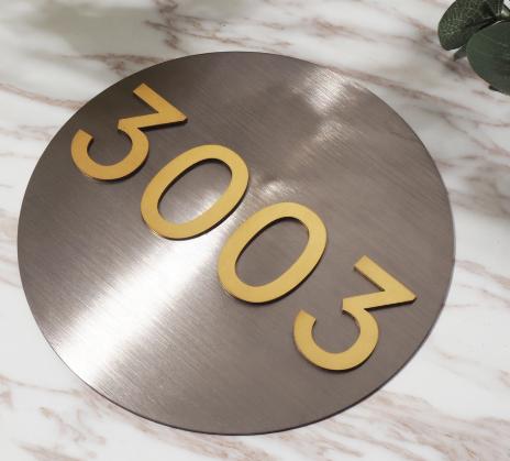 Porta do hotel placas de metal carta Aço Inoxidável 3D Número Da Porta Da Casa