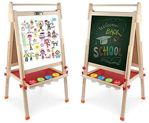 Double Sided Whiteboard Art Easel Double Sided Writing Board Wood Kids