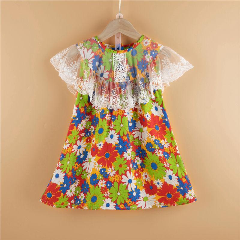 Girls Boutique ال<span class=keywords><strong>فتاة</strong></span> الصغيرة الكشكشة العرقية الدانتيل تزيين الزهور فستان بلا أكمام الطرف فستان الشمس تنورة الملابس مجموعة