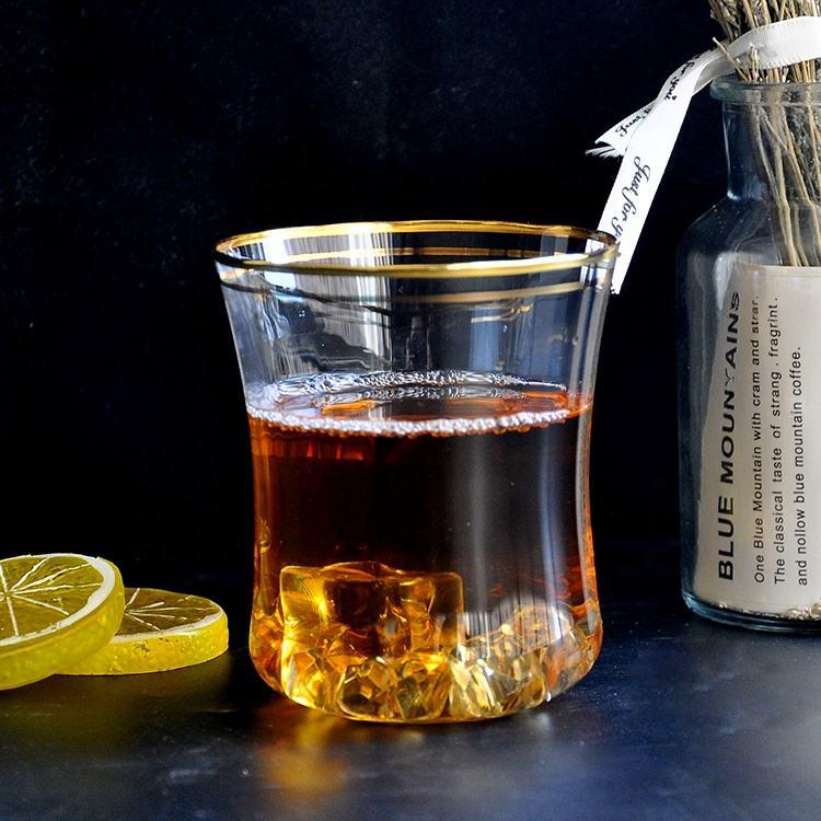 золотым ободком <span class=keywords><strong>большой</strong></span> Вино Виски Шот стеклянная чашка с украшением в виде кристаллов для питья виски для мужчин и Wom