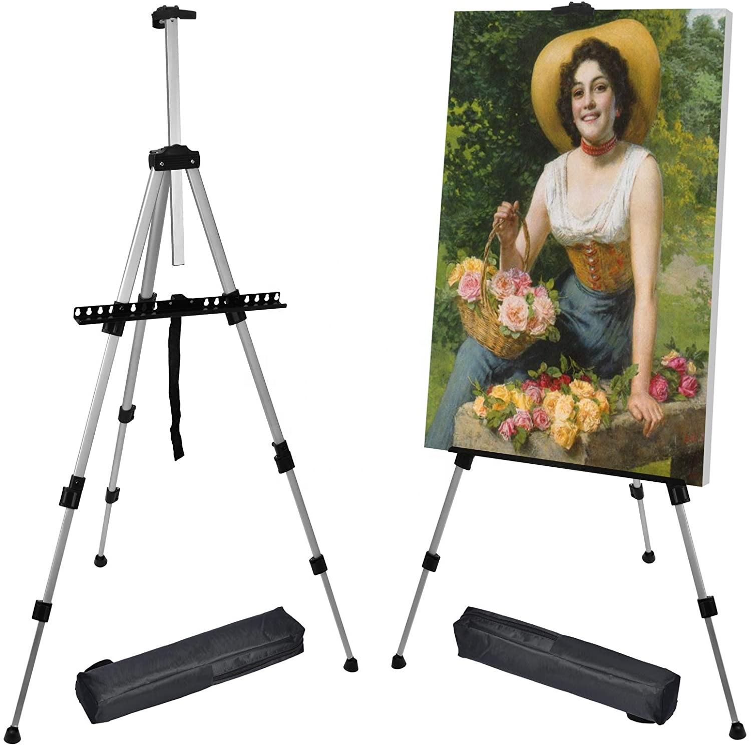 66 Inch Easel Stand Artist, Upgrade Art Paint Easle Aluminum Metal Tripod Display 17 to 66 Inch Adjustable Height Drawing